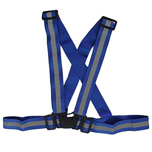 CR Warnweste Sicherheitsweste Unfallweste Reitweste Leuchtstreife Gurt Reflektierende für Fahrrad Motorrad Sport Ausrüstung (Blau)