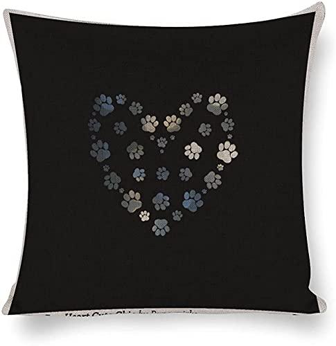 NLASHFO Funda de Almohada Funda de cojín Decoración de sofá para el hogar Funda de Almohada de Lino de algodón de 18 x 18 Pulgadas Funda de Almohada Elegante y Bonita Corazón de Amor Gris Oscuro
