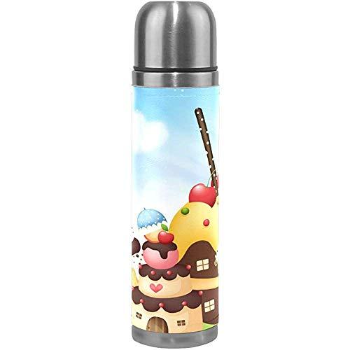 Kaffee Thermoskanne Cupcake Spielhaus Sport Isoliert Edelstahl Wasserflaschen Auslaufsicher Doppelwandige Thermoskanne Leder