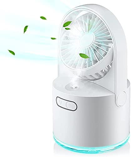 Mini USB Ventilador Con Agua de Mesa 4 en 1, Aire Acondicionado Portatil con 3 Velocidad del Viento y 2 Modos de Rociado, 7 Colores LED Luces, Depósito 300ml, Uso en asa, Oficina o Viajes