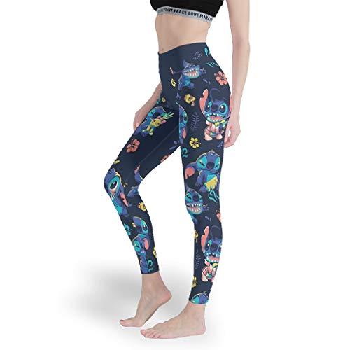 Stitchy Mädchen Sexy Leggings Cool 3D Yoga Hosen Capri-Weich Capris Tights für Yoga White XL