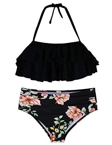 Hilor Girl's Bikini Set Crop Flounce Two Piece Swimsuits Kids Haler Bathing Suits Black Floral 8-9 Years