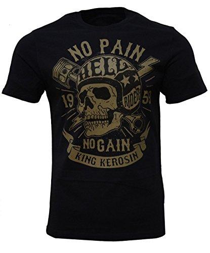 King Kerosin No Pain No Gain Regular T-Shirt Schwarz Totenkopf Skull Knochen Blitz Biker Motorrad L