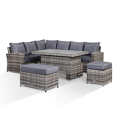 Club Rattan Harmony Outdoor Corner Sofa with Rising Table, 1 Stool 1 Bench in Grey Rattan