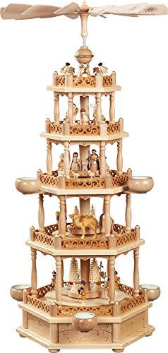 Pinnacle Peak Trading Company Natural German Nativity 4 Tier Christmas Pyramid Carousel Made in Germany New