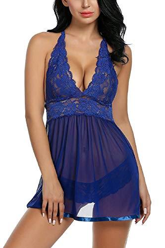 Voqeen Bobydoll Donna Lingerie Set Sexy Pizzo Scollo a V Camicia da Notte Biancheria Intima Completi Intimi Esotico Floreale Aperto Prospettiva Pigiama Bodysuits Nightwear(Blu Marino,XL)