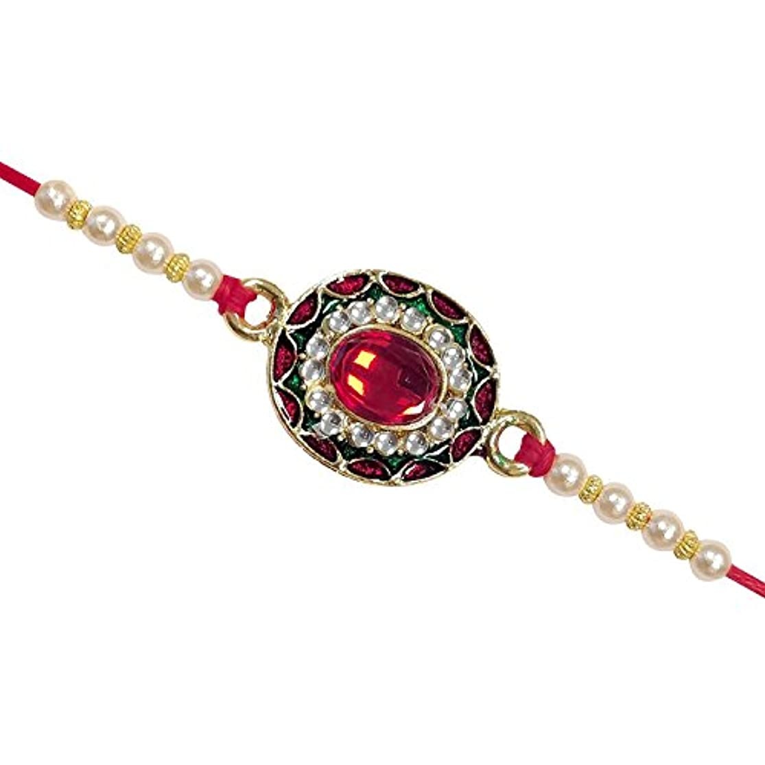 Rakhi for Your Brother Rakhee Thread On Raksha Bandhan Decorated with Pearl Enamel Design - Indian Festival Rakshabandhan Rakhi for Bhaiya ogcywdgf1