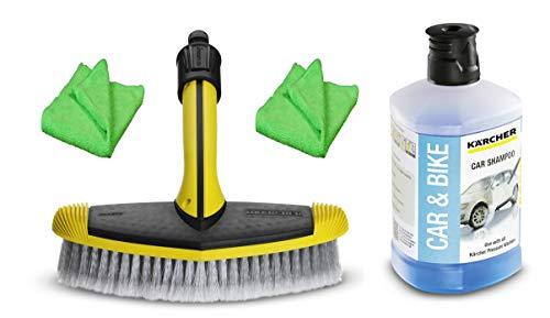 KÄRCHER Autoreinigungsset CAR ´n´ Clean außen für Hochdruckreiniger mit breiter Waschbürste, Autoshampoo und 2 Microfasertüchern