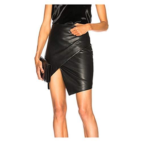 OYZK Verano Nuevo Bolsa de Cuero Cadera Falda de Cuero Mujeres Delgado un Paso Falda Cruz-Country Moda Falda Irregular (Talla : X-Large)