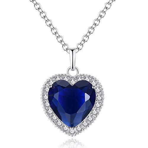 Titanic - Herz des Ozeans Sterlingsilber Halskette mit Anhänger, AILUOR Halskette mit blauem Herz-Kristall Swarovski elemente, Geburtstagsgeschenk, Valentinstag Geschenk für Frauen (Silber)
