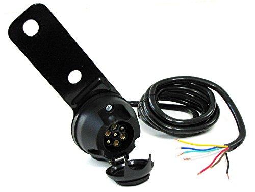 Carparts-Online 30024 7-polige 12V KFZ Auto Anhänger Trailer Steckdose mit 2 m Kabel und Halterung