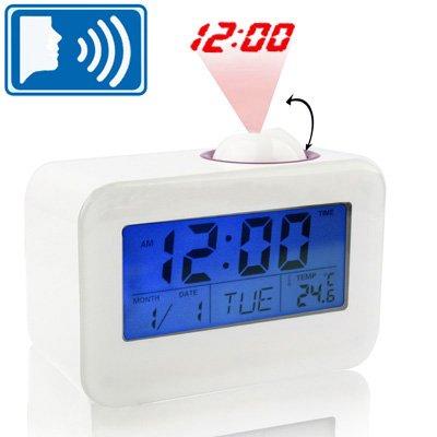 Wecker, Kalender und Temperatur LCD-Display und Sound Control Talking Time-Projektions-Taktgeber (weiß) YuZhiGang (Color : White)