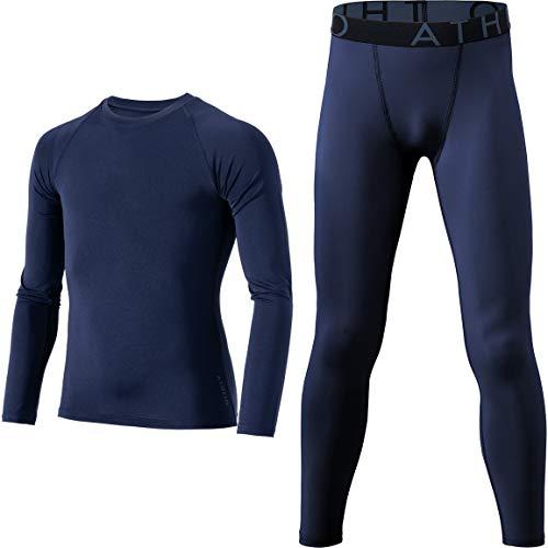 ATHLIO - Running Kompressions-T-Shirts für Jungen in Oberteil und Hose (Bbe39) – Marineblau / Marineblau, Größe X-Large (Height 5ft5in - 5ft7in)