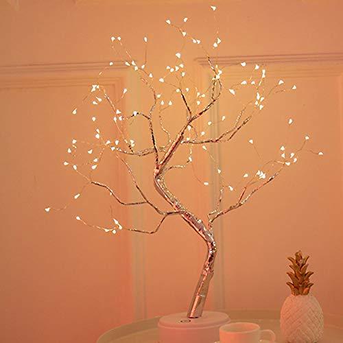 Lámpara de alambre de cobre, LED con forma de árbol ajustable estilo bonsái, luz nocturna de 36 LED/108 ledes, perfecta para decoración del hogar en el escritorio o la mesa Tamaño libre 108 Leds