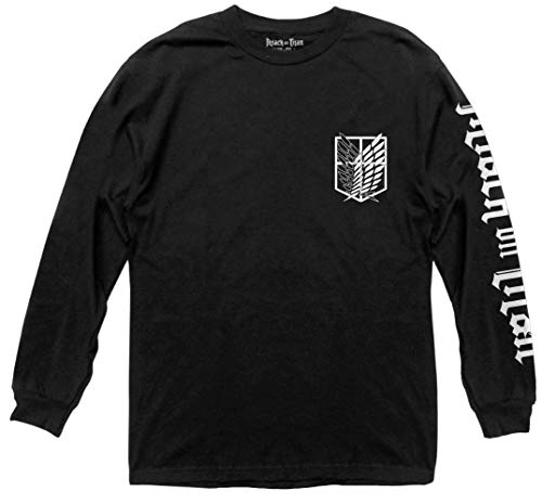 Ripple Junction Attack on Titan Adult Unisex Scout Sleeve Print Light Weight 100% Cotton Long Sleeve Crew T-Shirt 2XL Black