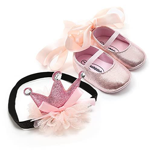 TMEOG - Zapatos con diadema de regalo para bebé o niña, de bambú, para primavera, flores, suela suave, antideslizante, zapatillas de princesa, Rosa (H3.), 19 EU