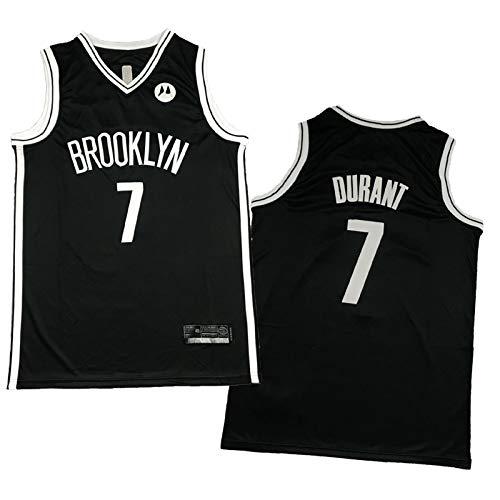 WXZB Baloncesto Jersey Nets 7# Durant, Fans de Baloncesto para Hombres Camisetas, Bordado Retro Sudadera, Regalos para Fans Black-XXL