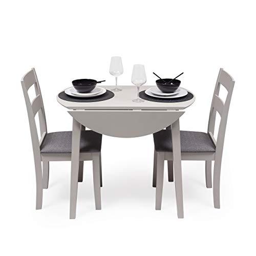 Conjunto de Comedor Dallas Grey Mesa de Comedor Redonda Extensible de 90 cm (17,5/55 / 17,5) cm y 2 sillas de Comedor de Madera Lacado en Gris