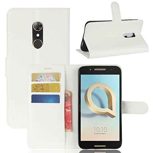 Tasche für Alcatel A7 Hülle, Ycloud PU Kunstleder Ledertasche Flip Cover Wallet Hülle Handyhülle mit Stand Function Credit Card Slots Bookstyle Purse Design weiß