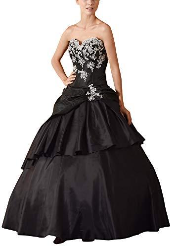 Romantic-Fashion Damen Ballkleid Abendkleid Lang Brautkleid Modell E615-E619 A-Linie TAFT Perlen Pailletten DE Schwarz Größe 48