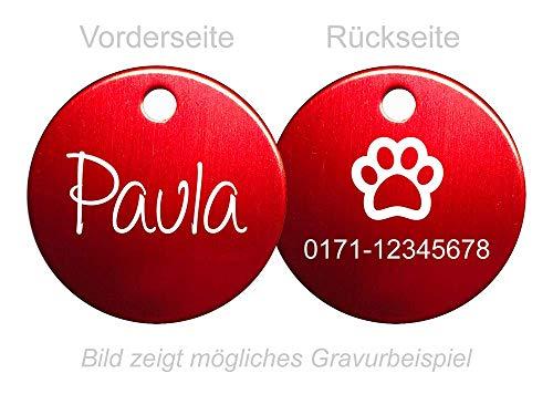 SNEG Hundemarke Rund mit beidseitiger Gravur (rot)
