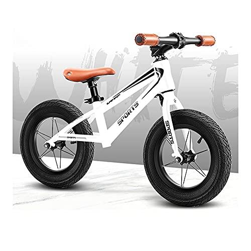 Bicicleta Sin Pedales Niños' Bicicletas de equilibrio Ruedas de 14 pulgadas, Blanco negro Sin pedal Bicicleta Bicicleta de entrenamiento para niños / niñas 5, 6, 7 años, Asiento ajustable, Carga 80kg