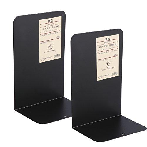 voorcool boekensteunen, metaal, robuust, modern design, anti-slip onderkant, zwart, verpakking met 2 stuks