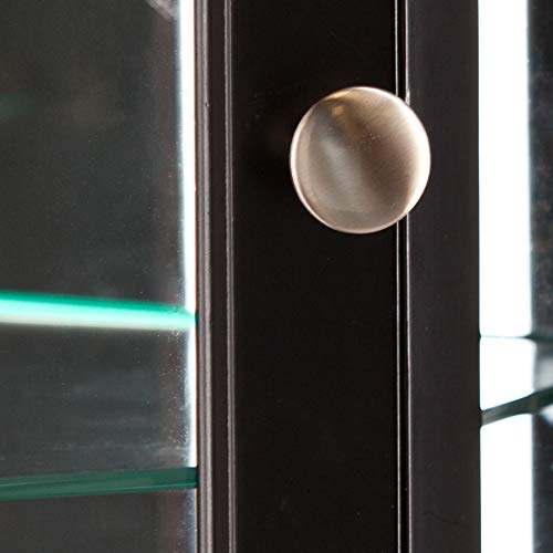 Essex Corner Curio Cabinet - Adjustable Glass Shelves - 2 Tier w/ Black Finish