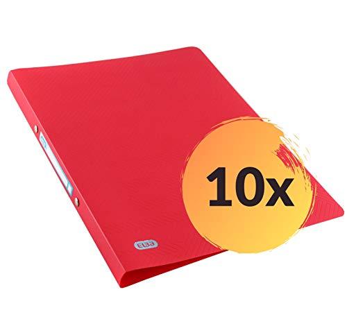 ELBA Urban Ringbuch A4, aus Kunststoff, 2 Ringe, Rückenbreite 2 cm, blickdicht, rot, 10er Pack
