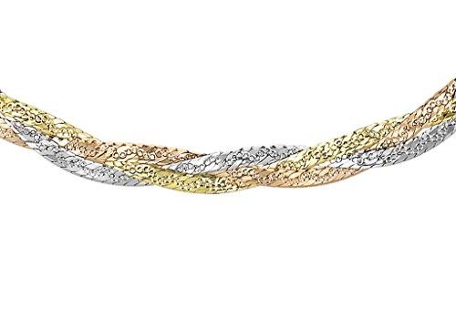 Collana in oro 3 colori a 3 trecce taglio diamante a spina di pesce, 43 cm