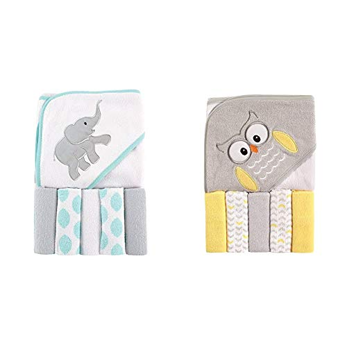 Luvable Friends Unisex Baby Hooded Towel with Five Washcloths, Ikat Elephant, One Size and Luvable Friends Unisex Baby Hooded Towel with Five Washcloths, Owl, One Size