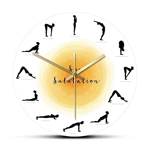 LWXJK Secuencia Yoga Pose Silueta Reloj de Pared No Ticking Sol Salutation Reloj de Pared Yoga Studio Decoración Regalo para Yogis 30X30cm