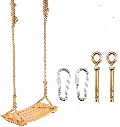 Holz Schaukelsitz für Erwachsene Kinder, Garten-Schaukel mit verstellbarem Hanfseil für Innen und Außenbereich Extra breiter Sitz Baum schaukel 19 x 9,8 Zoll Tragfähigkeit: 160KG