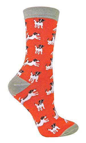 Miss Sparrow - Damen Socken mit H&emotiv | Lustig Bambus Socken mit Bunt Dog Muster (37-40, Jack Russells)