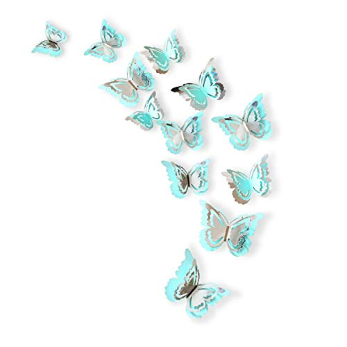 PinkBlume Silver and Blue 3D Butterfly Decorations,Man-Made Removable Butterfly Wall Stickers/Decals/Mural for Livingroom,Kids/Girls Bedroom,Nursey,Party