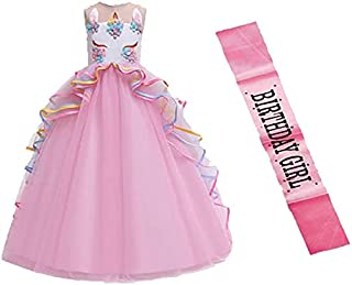 Fancy Steps Pink dress Gown Frock with Sash Birthday Girl(Plz see the size in dropdown)