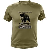 Camisetas Personalizadas de Caza, Todos nacemos Iguales, Ideas Regalos, Verraco (30142, Verde, L)