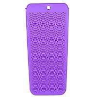 Lurrose ヘアアイロン ポーチ 収納ケース 耐熱ポーチ 防塵カバー シリコンマット 滑り止め 旅行 出張 携帯便利(紫)
