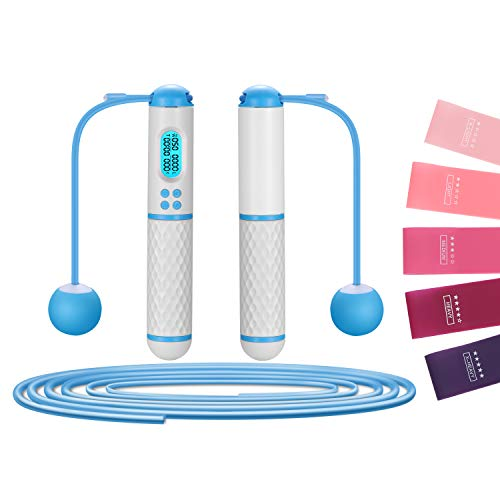 Jump Rope, VANCOK Digital Weighted Ropeless skipping Rope with 5 Pcs Resistance Loop Bands, Adjustable Cordless Jumping…