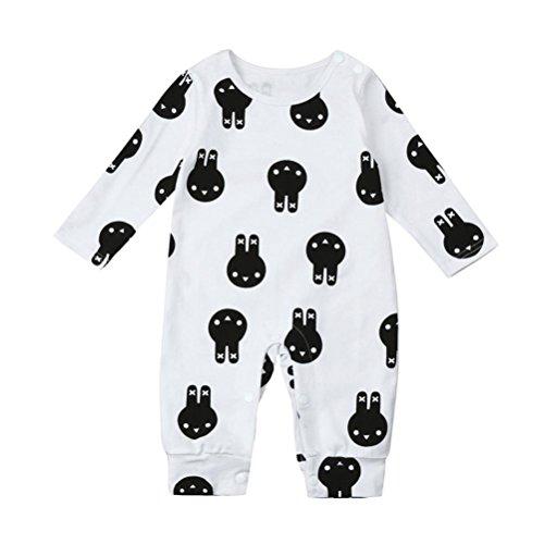 Ouneed® Bebe Naissance Fille Combinaison Hiver Pyjama Chauffant Lapin Motifs a Capuche (70, Blanc)