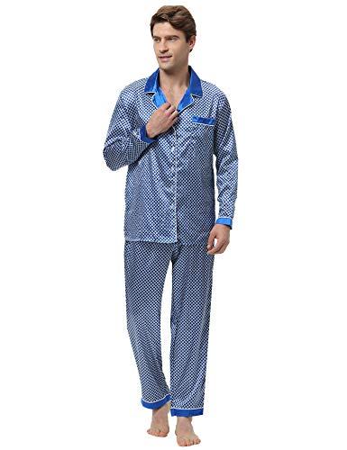 Aibrou Herren Satin Pyjama Set, Zweiteiliger Bedruckt Schlafanzug Langarm Shirt und Pyjamahose Blau S