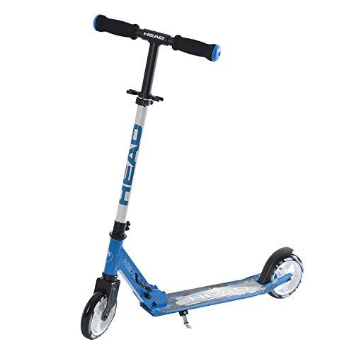 HEAD - Aluminium Scooter inkl. Hinterradbremse I Kickscooter I klappbar I Tretroller I Cityroller I höhenverstellbar I Kinder- & Erwachsenen-Scooter I inkl. Ständer - Schwarz/Blau