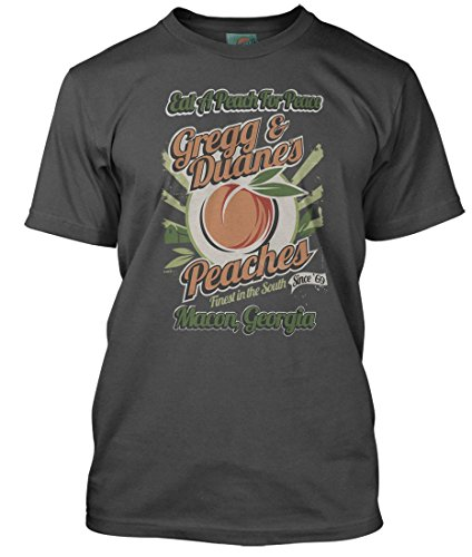 BathroomWall Allman Brother Inspired Eat A Peach for Peace, Men's T-Shirt, XX Large, Charcoal