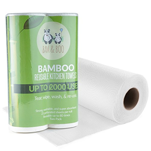 2 Paquetes de Toallas de Rollo de Cocina De Bambú Orgánicas – Toallitas de Papel Ecológicas Absorbentes Seca Manos o Limpieza de Casa - Paños, Accesorio de Cocina Reutilizable de Bamboo