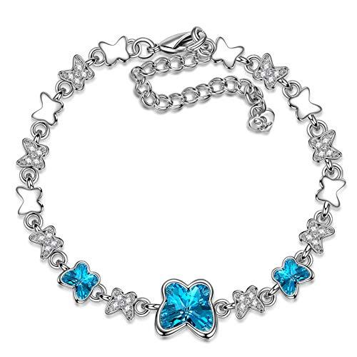 Susan Y Regalo del día de la Madre Pulsera Mujer de eslabones diseño de Mariposa con Joyas de Cristal de Dos Tonos Azules y Transparentes para cumpleaños Aniversario día de Madre Esposa Hija niña