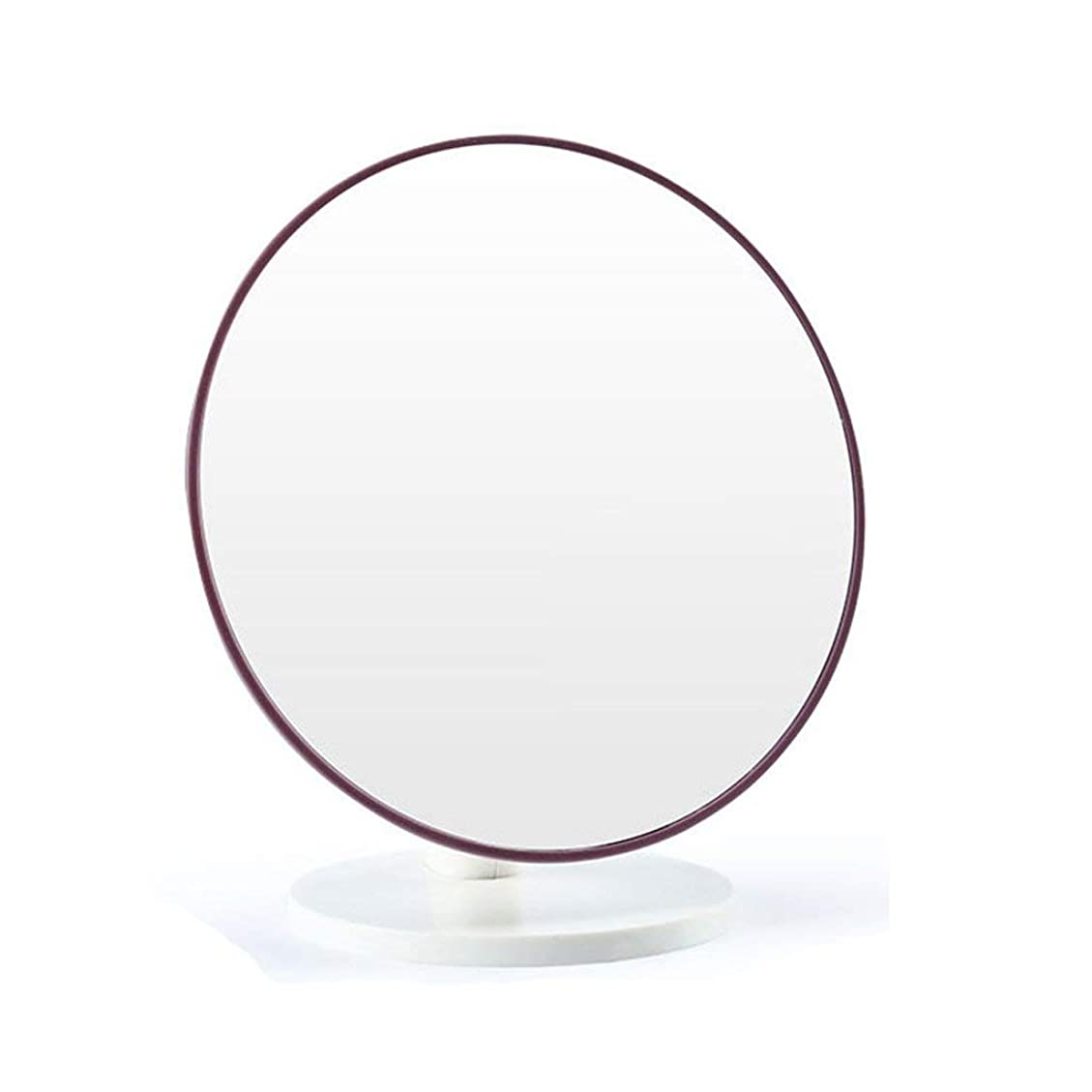 陽気な溶かすビスケット化粧鏡円形デスクトップ折りたたみ式ポータブル化粧鏡HD片面トラベルハンドヘルドメイクアップミラー(色:紫)