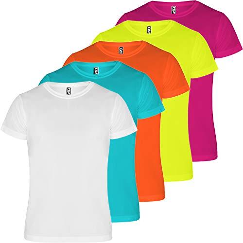 13MW Camiseta técnica Hombre   Pack 5   Tejido técnico para Deporte   Transpirable   Running, Fitness, Fútbol, Padel (Combinación 2, XXXL)