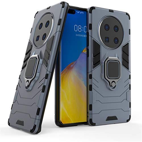 Compatible con Huawei Mate 40 Pro Plus Funda, Anillo Metálico Sujeción Soporte Antichoque Caja (Funciona con el Montaje de Coche Magnético) Doble Capa Case Carcasa (Azul Marino)