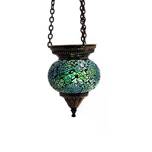 Mosaik Lampe Hängelampe Windlicht Pendelleuchte Aussenleuchte Deckenleuchte aus Glas grün Teelichthalter Orientalisch Handarbeit dekoration - Gall&Zick Laterne