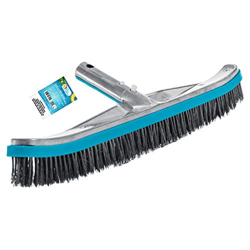 U.S. Pool Supply Professional 18' Stainless Steel Pool Algae Brush with Heavy Duty Aluminum Handle, EZ Clips - Durable Wire Bristles, Scrub Remove Rust Stains on Concrete, Sweep Wall Floor Step Debris